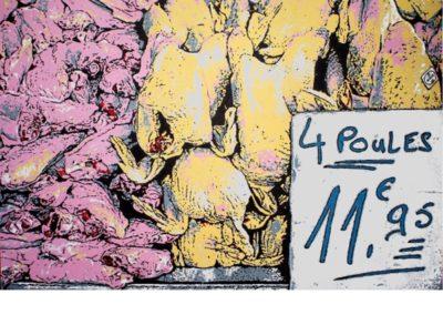 4 POULES – 2015 – Acrylique sur papier marouflé sur bois – 80 x 120 cm