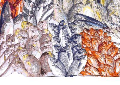 LETAL DE POISSONS – 2015 – Acrylique sur papier marouflé sur bois – 80 x 120 cm – Collection particulière