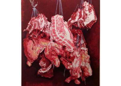 UNE VRAIE BOUCHERIE – 2015-2017 – Acrylique et encre de Chine sur bois – 140 x 120 cm