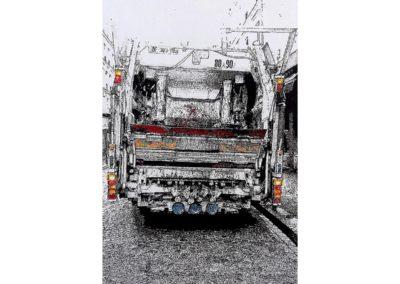 LE FORMIDABLE CAMION POUBELLE – 2015-2017 – Acrylique et encre de Chine sur papier, marouflé sur bois – 160 x 105 cm – Collection particulière