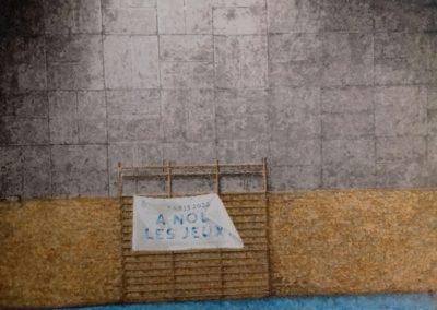 A NOUS LES JEUX ! – 2018 – Acrylique et encre de Chine sur papier, marouflé sur bois – 70 x 80 cm